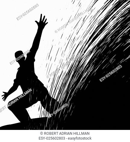 Editable vector illustration of a man sliding with grunge splash