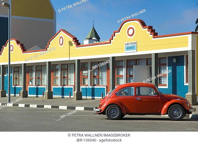 Red Volkswagen in front of a building in Swakopmund, South-West-Africa, Africa