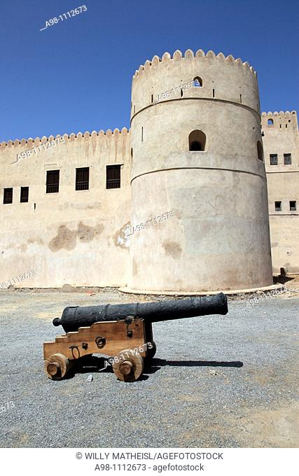 a single historic Cannon in front of Fort Barka, Sultanate of Oman, Asia
