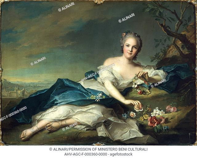 Painting by Jean-Marc Nattier of Henriette of France as Flora, in the Uffizi Gallery in Florence (1742), shot 1990 by Lorusso, Nicola for Alinari