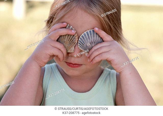Young girl shell collector