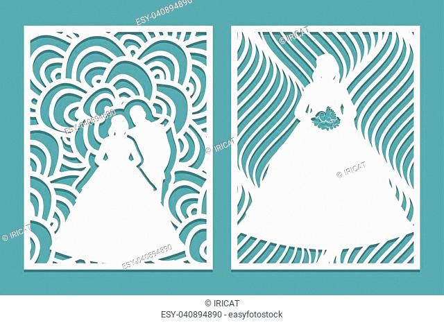 Set of die laser cut card with the silhouette of the bride and groom. Template for wedding invitation or greeting card. Panel stencil pattern