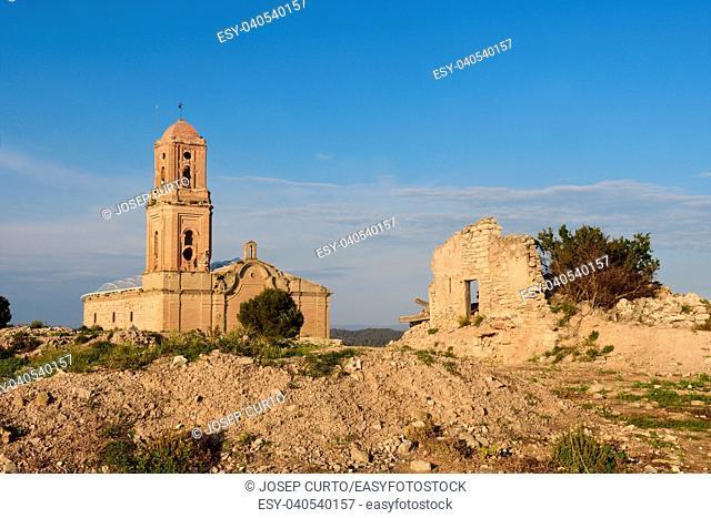 Sant Pere Church in Poble Vell de Corbera de Ebro, Tarragona province, Catalonia, Spain (damaged in the Spanish Civil War1936-1939)