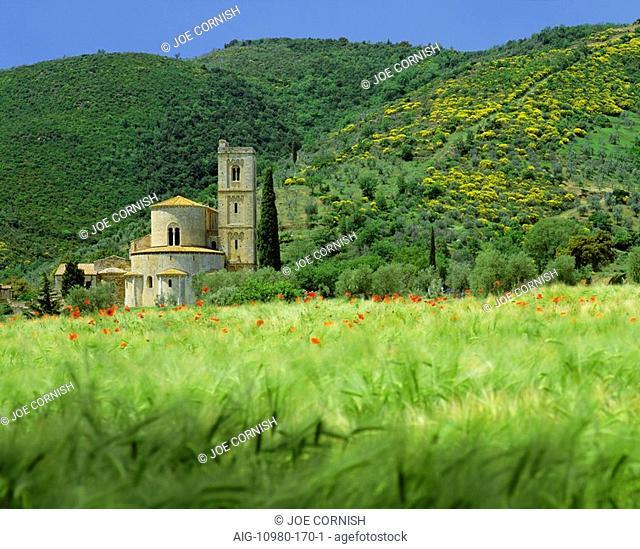 Abbey of Sant' Antimo, near Montalcino, Tuscany. Exterior