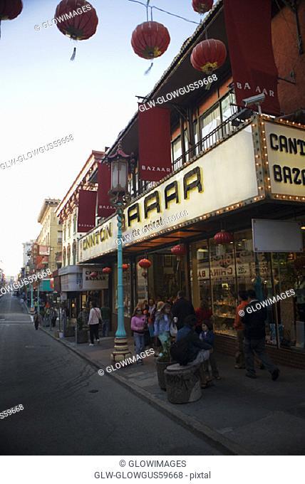 People shopping in a market, San Francisco, California, USA