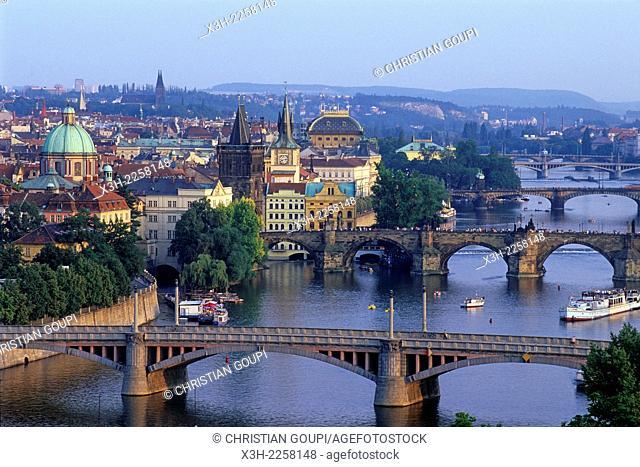 bridges on the Vltava river, Prague, Czech Republic, Europe