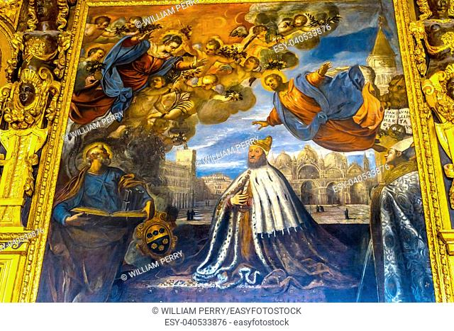 Doge Angels Paintings Palazzo Ducale Doge's Palace Venice Italy. Doge's Palace was the residence of the Venetian ruler from 1200s to 1787