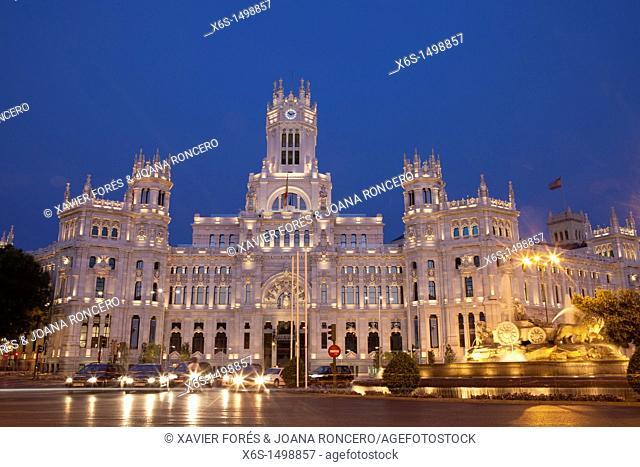 Cibeles Palace and Fountain, Madrid, Spain