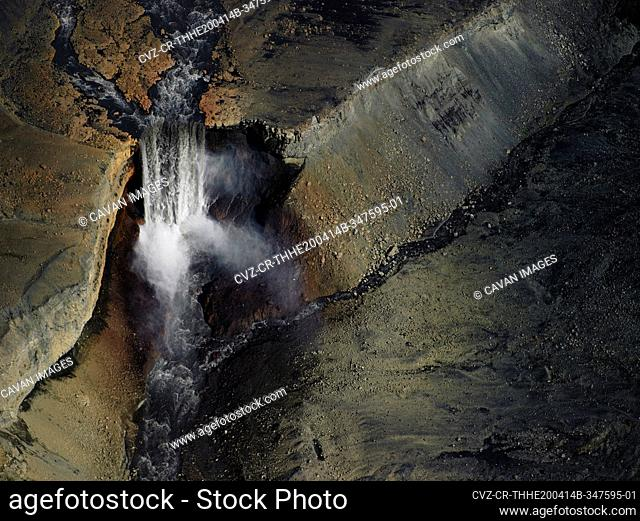 Aerial shot of unnamed waterfall in the highlands of Iceland