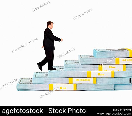 Businessman and money staircase isolated on white background