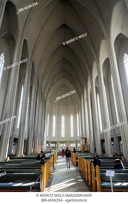 Interior view, vault, church of Hallgrímur, Reykjavik, capital region, Höfudborgarsvaedid, Iceland