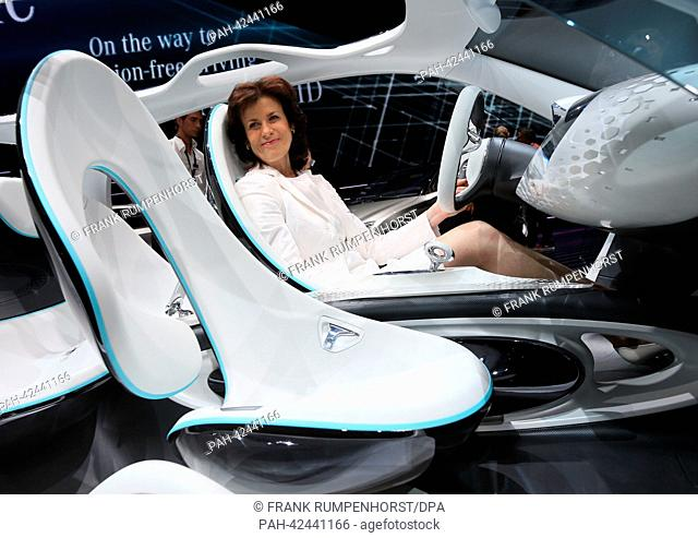 Brand chairperson of Smart, Annette Winkler, sits in a Smart Fourjoy at the 'Mercedes-Benz & smart Media Night' on the evening before the start of the first...