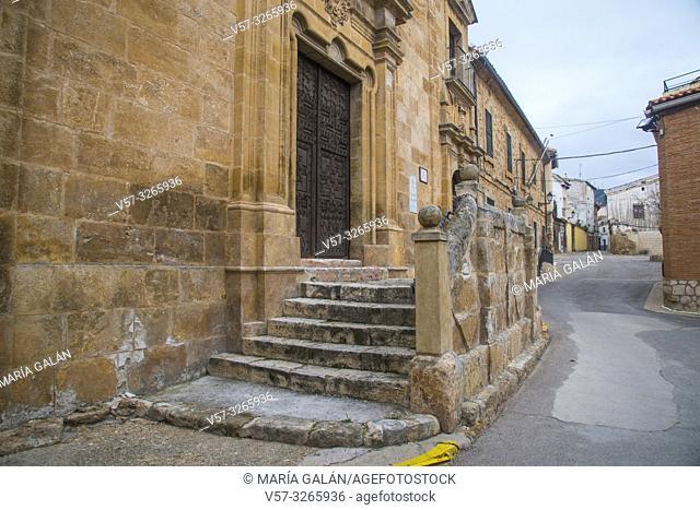 Facade of Virgen de la Luz church and street. Almonacid de Zorita, Guadalajara province, Castilla La Mancha, Spain