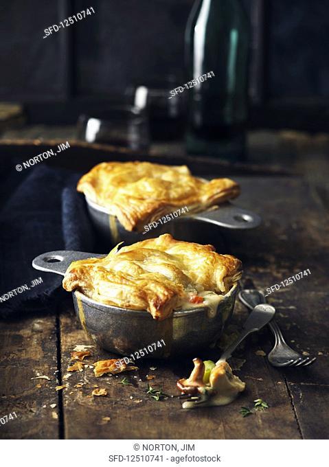 Pot pies with chanterelles