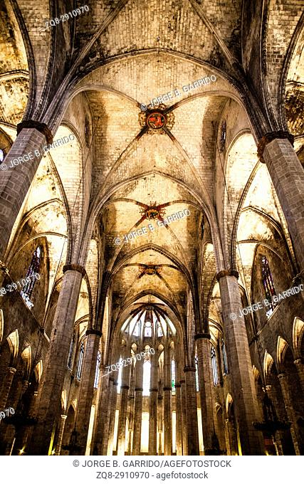 Barcelona - interior from gothic cathedral of Santa Maria del Mar