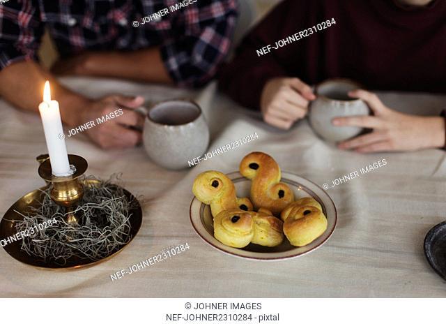 Saffron buns on table
