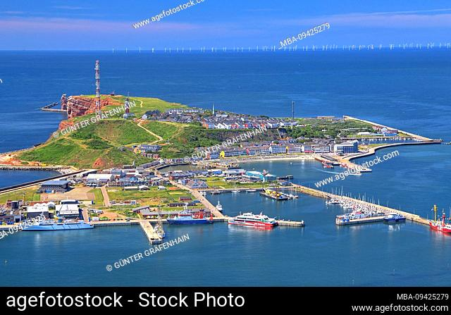 The island from south with upper and lower land the south harbor and cliff, Heligoland, Heligoland bay, German bay, North Sea island, North Sea