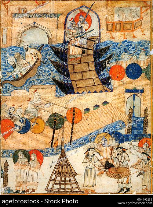 Conquest of Baghdad by the Mongols 1258. Right part of a double-page illustration of Rashid-ad-Din's Gami' at-tawarih. Tabriz (?), 1st quarter of 14th century