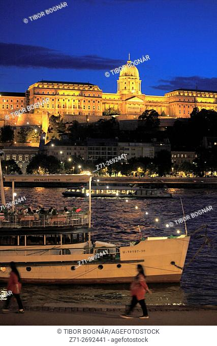 Hungary, Budapest, Royal Palace, Danube River, Old Ship Restaurant, people,