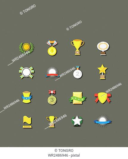 Set of various icons related to victory and prize