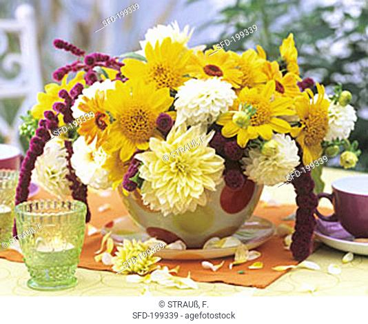 Dahlias, sunflowers, marigolds and Amaranthus