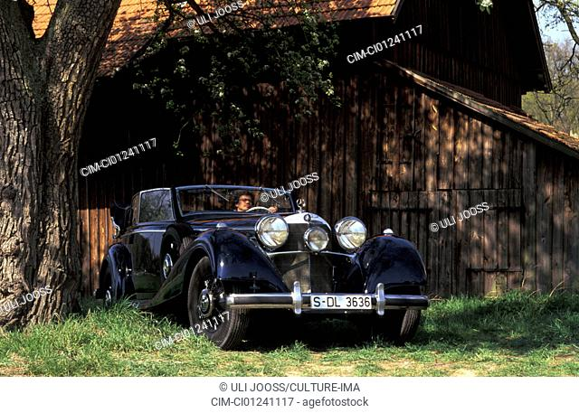 Car, Mercedes 540 K Roadster, vintage car, 1930s, thirties, black, standing, diagonal front, front view, landscape, scenery