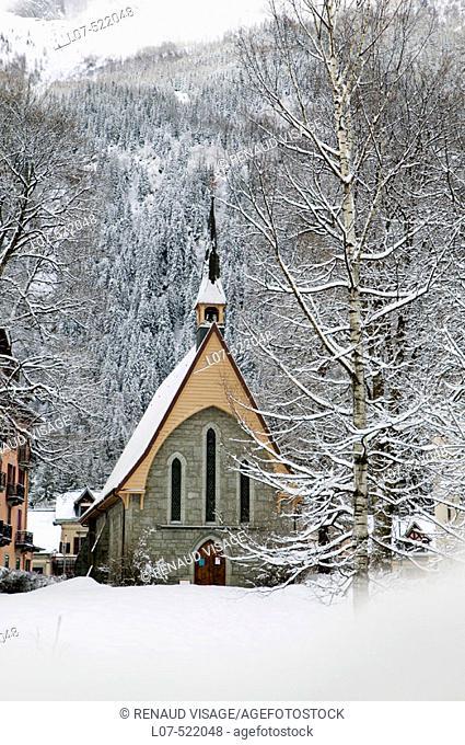 Church in the snow. Chamonix. France