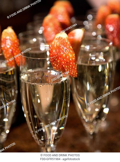Champagne glasses with strawberry