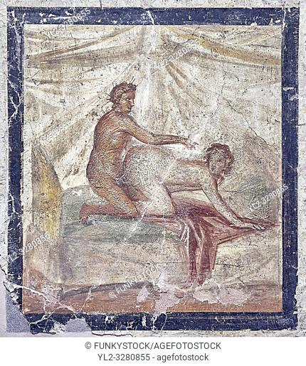A Roman erotic fresco painting from Pompeii form a private house venereum, a room for sexual activities, 50-79 AD , , inv no 27696