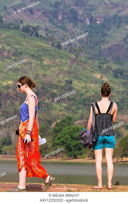 Young female tourists visiting Wat Phu temple; Wat Phu, Laos