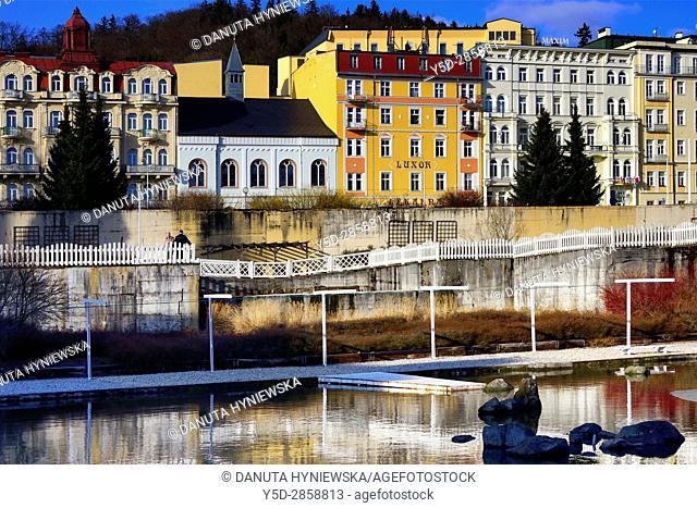 Residential architecture, Marianske Lazne spa resort - Marienbad, Karlovy Vary Region, West Bohemia, Czech Republic, Europe