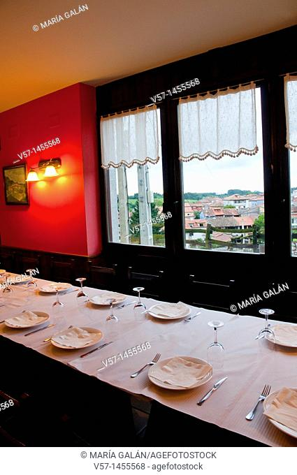 Peña'l Cura restaurant, indoor view. Porrúa, Asturias province, Spain