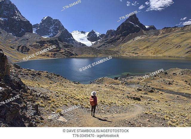 Stunning alpine scenery at Chiar Khota Lake and Condoriri Basecamp along the Cordillera Real Traverse, Bolivia