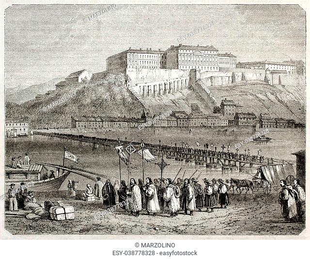 Old illustration of pilgrims procession in Pest, Hungary. Created by Freeman and Quartley, published on Magasin Pittoresque, Paris, 1850