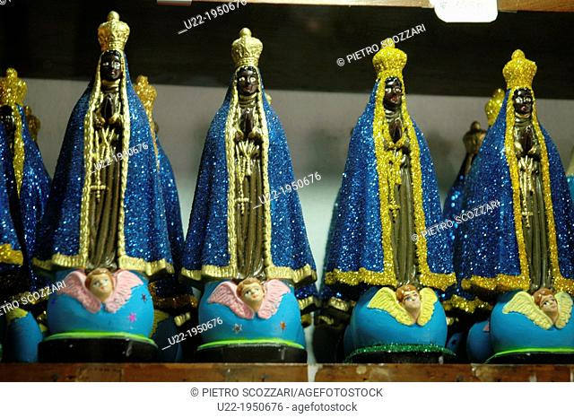 Salvador de Bahia, Bahia, Brazil, statuettes of Nossa Senhora da Conceição Aparecida, patron saint of Brasil, sold in a shop