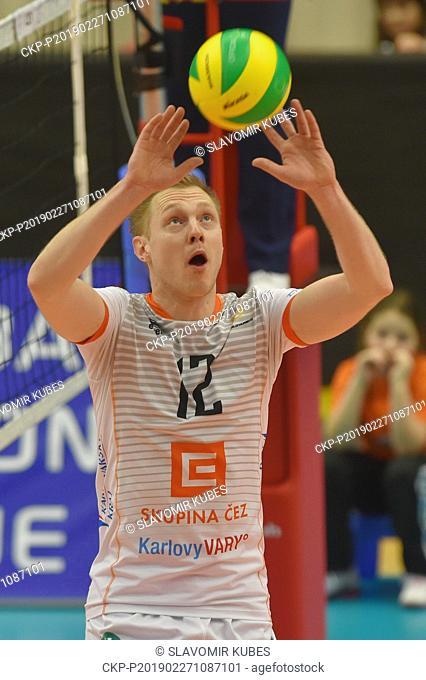 Daan van Haarlem (Karlovarsko) in action during the 6th round group B of volleyball Champions League match Karlovarsko vs Modena in Karlovy Vary, Czech Republic