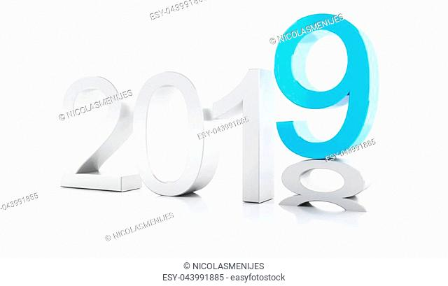 3d renderer image. New Year 2019 isolated on white background