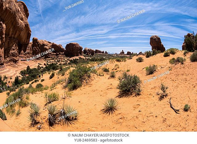 Landscape with red dessert and blue sky, Arches National Park, Utah, USA