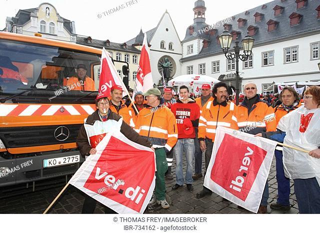 Warning strike, German union members, Koblenz, Rhineland-Palatinate, Germany, Europe