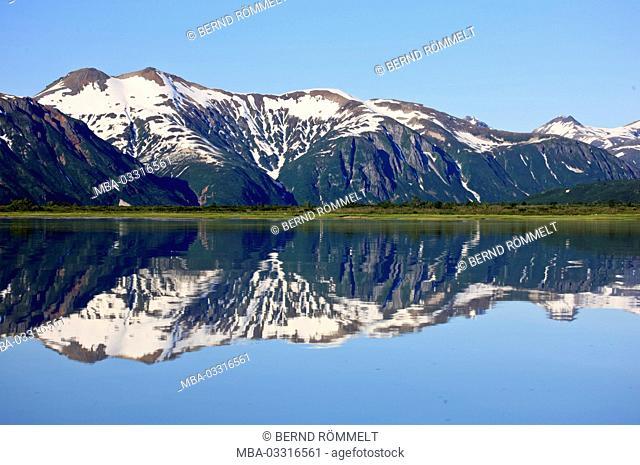 North America, the USA, Alaska, Katmai national park, Kukak Bay, mountain landscape, Coast Mountains, coastal mountains, fjord