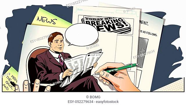 Stock illustration. People in retro style pop art and vintage advertising. Businessman reads newspaper. Hand paints picture