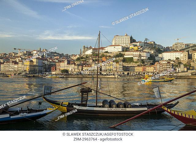 The skyline of Ribera seen across river Douro, Porto, Portugal
