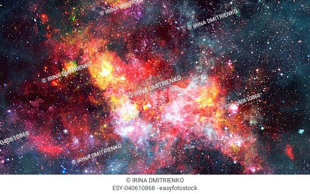 The explosion supernova. Bright Star Nebula. Distant galaxy. New Year fireworks. Abstract image. Elements of this image furnished by NASA