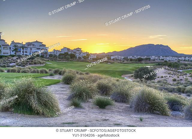 HDR image of a Sunset over the 16th fairway at Hacienda Riquelme Golf Course in Murcia Spain