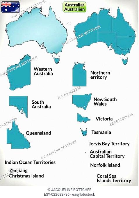 Grenzkarte von Australien mit Grenzen in Blau