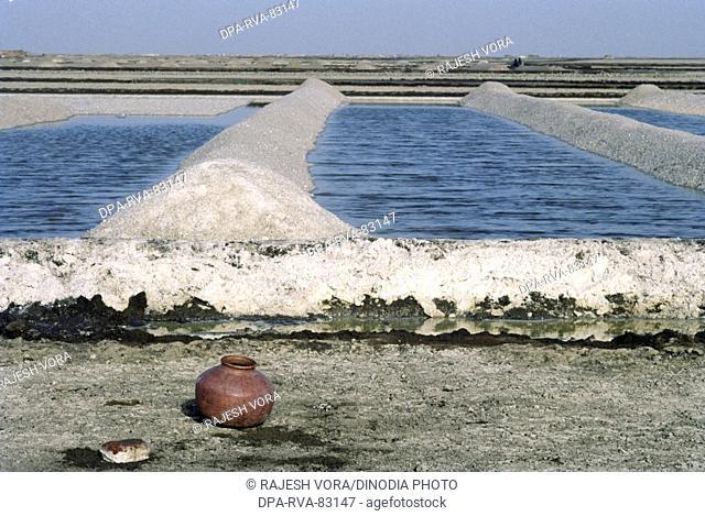 salt plant , a pot of fresh water , little rann of kutch , gujarat , india