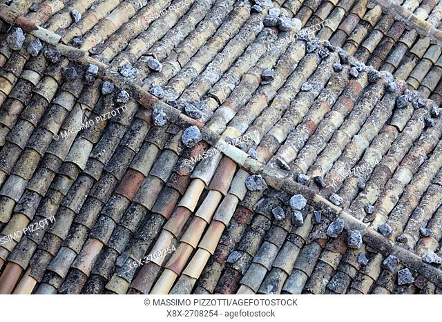Roof of traditional houses in Ragusa Ibla, Sicily, Italy