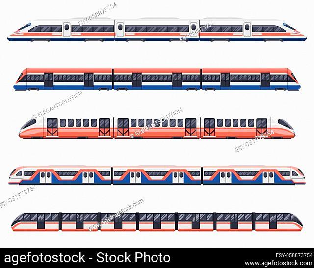 Trains, subways and metro railway transport wagons, vector urban city transport. Metro subway, intercity railway carriage, underground MRT or LRT coaches