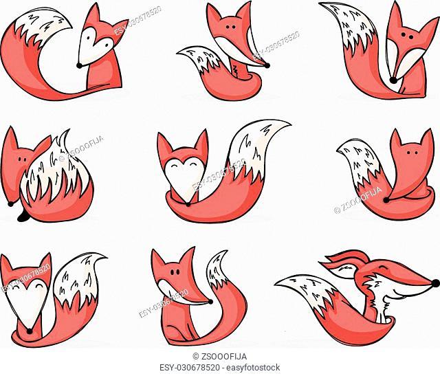nine cute hand-drawn cartoon foxes