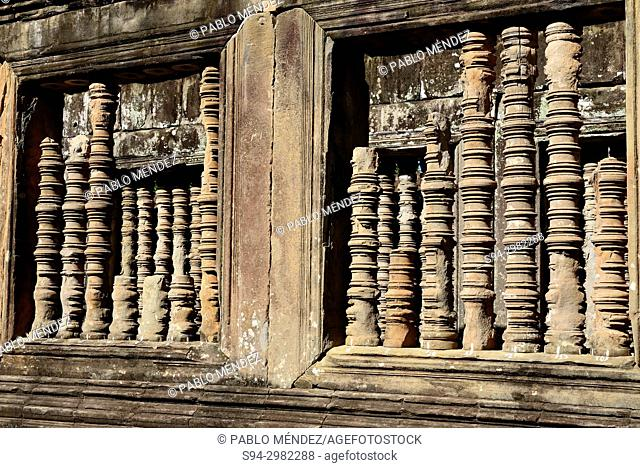 Detail of some windows of Ta Keo, Angkor area, Siem Reap, Cambodia